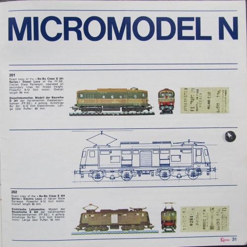 Catalogo MicroModel Lima 1966: le due motrici italiane.
