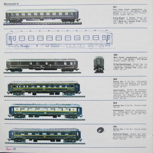 Catalogo MicroModel Lima 1966: le carrozze passeggeri.