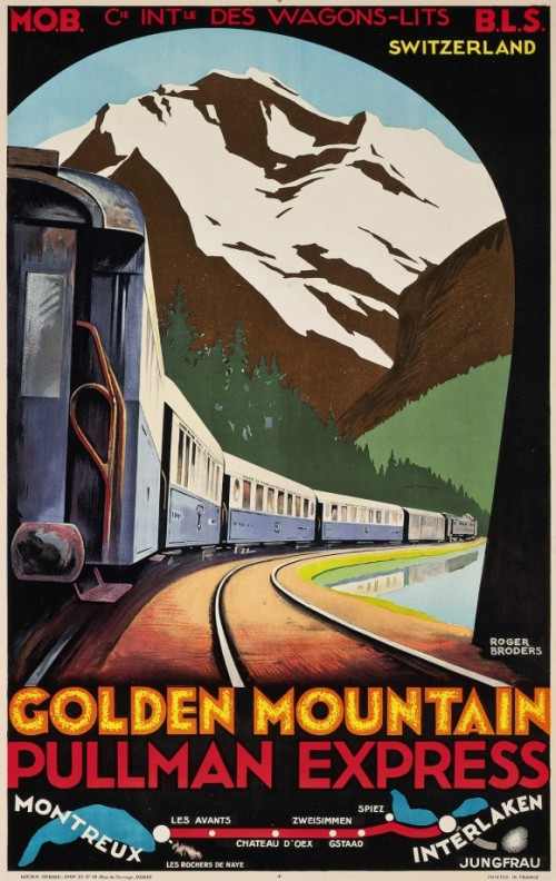 1930 Golden Mountain Pullman Express poster by Roger Broders da http://poulwebb.blogspot.it