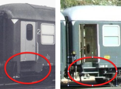 Dettaglio delle scalette di accesso: carenate a sinistra (Tipo 1975), non carenate a destra (Tipo 1970)