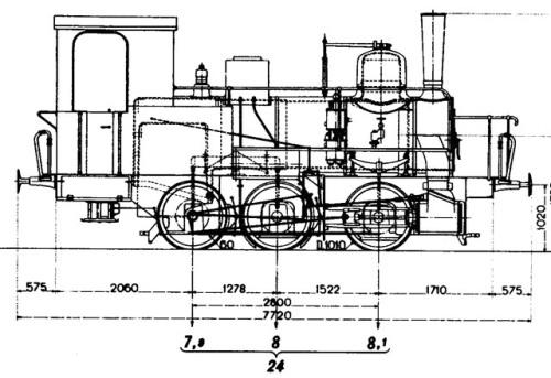Schema della FS 813. il passo (asimmetrico) è assai simile a quello delle T3.
