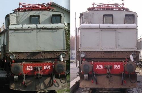 E.626.059. A sinistra cabina A (foto da image.forumfree.it, a destra cabina B (foto © V.Dell'Aquila da /www.trenomania.org)