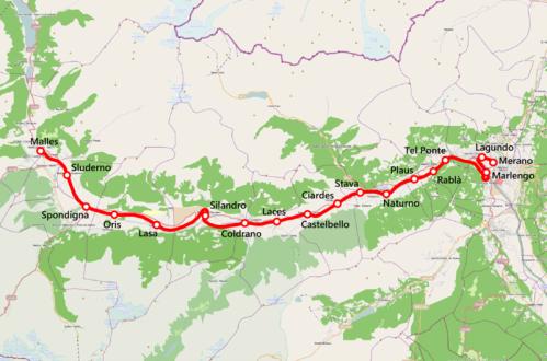 Tracciato della Ferrovia dela Vala Venosta - autore Friedrichstrasse da wikimedia