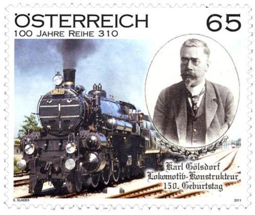 Karl Gölsdorf nel francobollo celebrativo delle Poste Austriache per i 150 anni dalla sua nascita - da www.bahnportal.at