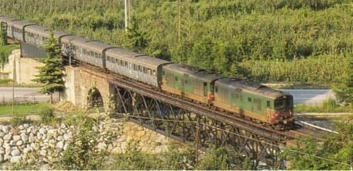 Coppia di D345 Marlengo nel 1992 in coda ad un treno turistico con trazione a vapore. Foto dalla tesi Originariamente da Rosenberg, Le Ferrovie in Sudtirolo, ed. Athesia 1993