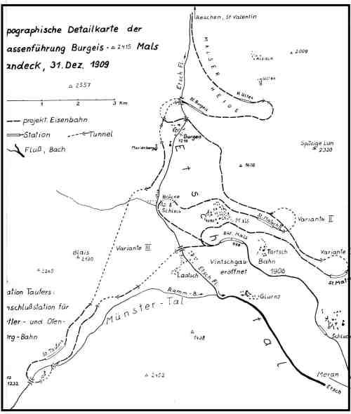 Il vecchio progetto della ferrovia del Resia: parte centrale
