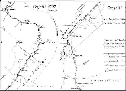 Il vecchio progetto della ferrovia del Resia: parte nord