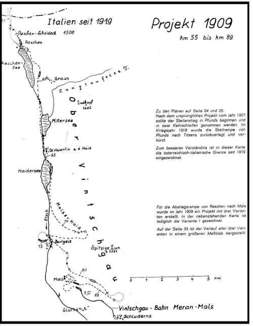 Il vecchio progetto della ferrovia del Resia: parte sud