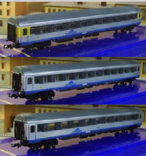 Le tre carrozze passeggeri Cisalpino, dal catalogo Eurorailmodels 2008