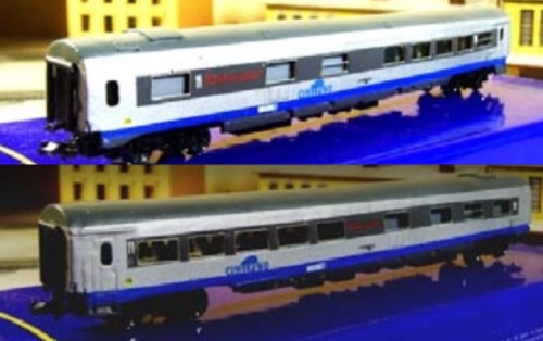 Vista dai due lati di una Cisalpino Ristorante, modello Eurorail Models