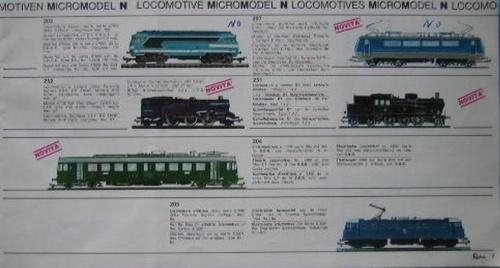 Pagina dal catalogo Lima Micromodel del 1968. In alto a destra la
