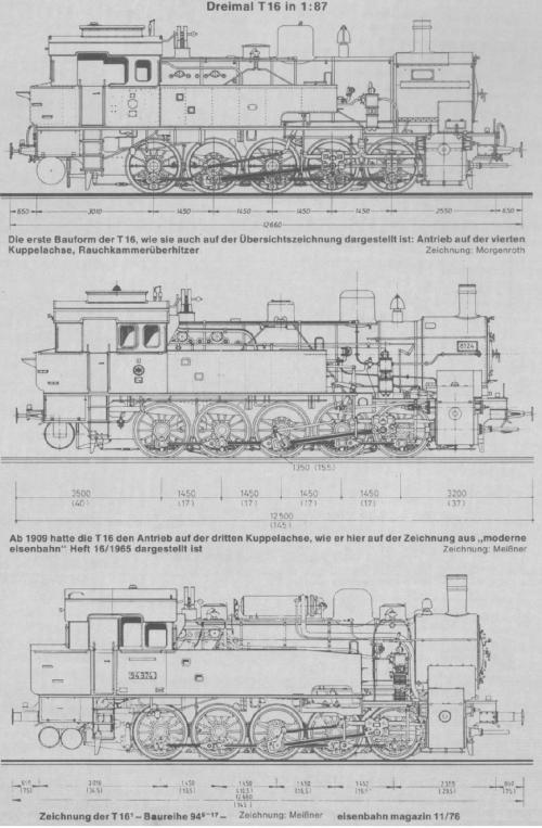 Varie evoluzioni della T16 - poi Br 94. Immagine tratta da http://www.hpw-modellbahn.de/lokgeschichte, originale da Eisenbahn Magazine