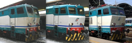 I diversi schemi di coloritura XMPR. Le foto (dettagli tratti da trenomania.org) sono © di E.Imperato (le due di sinistra) e © di Davide Bianco.