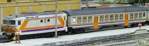 Una MDVC Fratix al traino di una D445 Pi.r.a.t.a. riverniciata nei colori MDVC da Mario Malinverno sul suo plastico Alturago-Pinerate