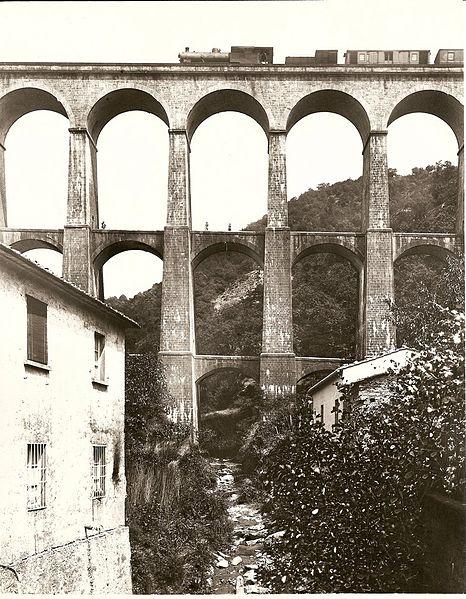 Ferrovia Porrettana - Viadotto di Piteccio prima del 1900 - Foto F.lli Alinari