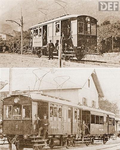 La motrice della Bolzano-Caldaro con il doppio archetto, e in basso con una carrozza a rimorchio. - Foto © DEEF - www.dokumentationszentrum-eisenbahnforschung.org/