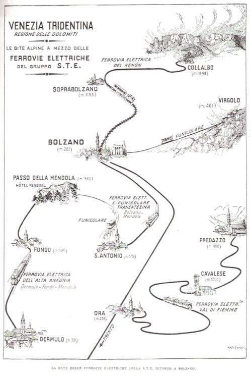 Una cartina mostra il percorso - eccetto la parte sud sulla Ferrovia della Val di Non e Trento - Immagine tratta da un post di Corrado Sala su www.ferrovie.it/forum