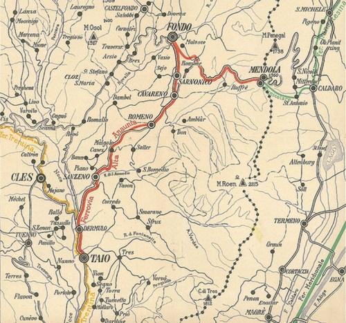 La cartina riporta in rosso il tracciato della Dermulo-Fondo-Mendola