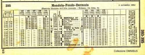 Orario del 1931, anno precedente a quello in cui il racconto é ambientato.