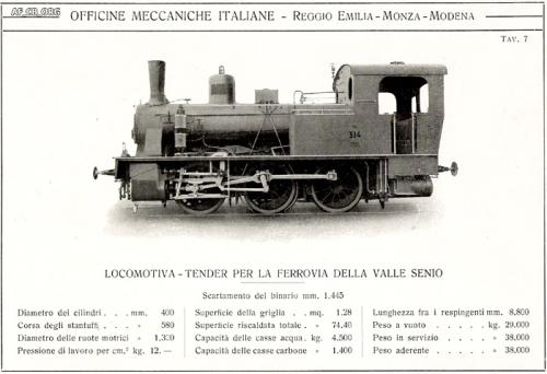 Locomotiva prodotta dalle OMI per la Ferrovia della Valle del Senio