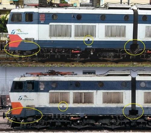 Confronto tra le E.656.07x  in alto  e la 656.179 in basso - Immagine composta con particolari presi da due foto tratte da trainzitaliafoto.com