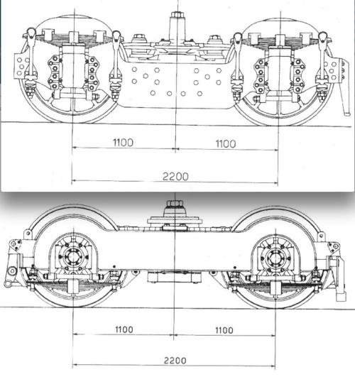 Carrelli portanti delle E.428. In alto il carrello di origine, in basso il carrello Ap 1110 usato successivamente. Schemi tratti da foto.amicitreni.net