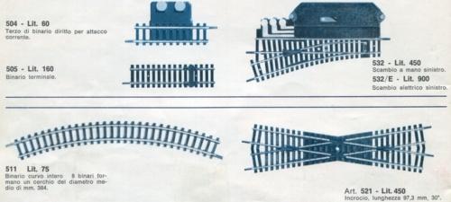 Curva e scambio Lima, dal catalogo del 1966/67