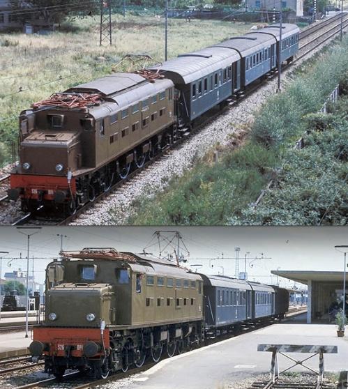 Due belle immagini di Bernhard Studer mostrano la E.326.001 in testa ad un accelerato nel 1975. Foto © Studer, tratte da leferrovie.it e da marklinfan.com. originali provenienti da photorail.com