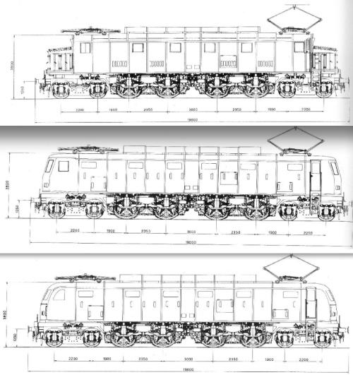 Schemi delle E.428 di prima, terza e quarta serie