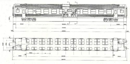 Figurino della carrozza in acciaio inox - da un depliant Breda