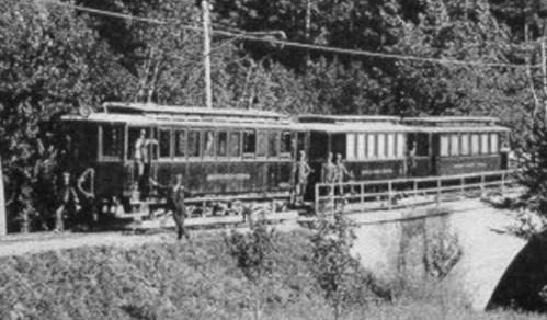 La tramvia Mendola-Dermulo a Ponte San Zeno (da una cartolina d'epoca)