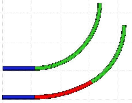 Curva a raggio fisso (in alto) e curva pseudo-parabolica (in basso), ottenuta inteponendo a inizio curva due elementi di raggio maggiore (evidenziati in rosso).