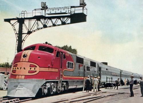 """Santa Fe El Capitan, introdotto nel 1938 come """"fratello"""" del SuperChief. Immagine © da streamlinermemories.info"""
