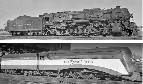 La Mohawk prima e dopo la carenatura che la trasformò nella motrice del Rexall Train