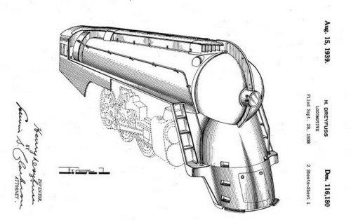 Disegno della carenatura delle Super Hudson, dal brevetto di Dreyfuss.