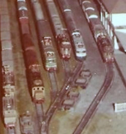 Sul primo plastico (quello anni '70) già circolava una vairetà di motrici elettriche. Qui si vedono una doppia trazione di E.626, una E.428, e delle motrici commerciali Lima e Rivarossi