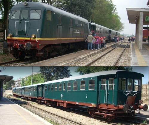 """Il treno storico """"Valle d'Itria"""" composto dalla FSE BB 159 e tre carrozze Carminati-Toselli del 1936 - Foto dal sito ATSP"""