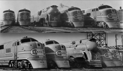 Due viste della Blue Goose tra i Diesel - da www.kansasmemory.org