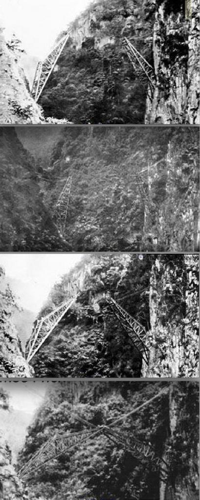 Le fasi della costruzione del ponte. La prima immagine venne scattata alle 8 di mattina, le altre alle 8:30, 10:30 e 12:00. Immagini da www.km8844.cn