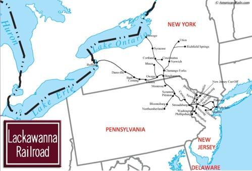 Rete di DL&W - mappa elaborata sulla base di una di Americanrails.com