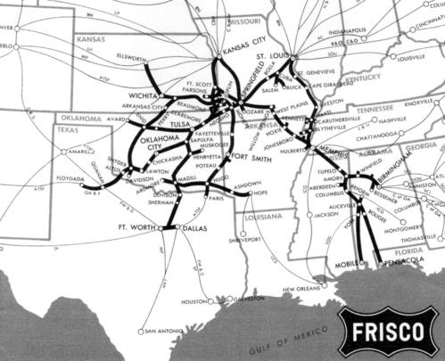 Rete della St. Louis and San Francisco Railroad - da friscorailroad.com
