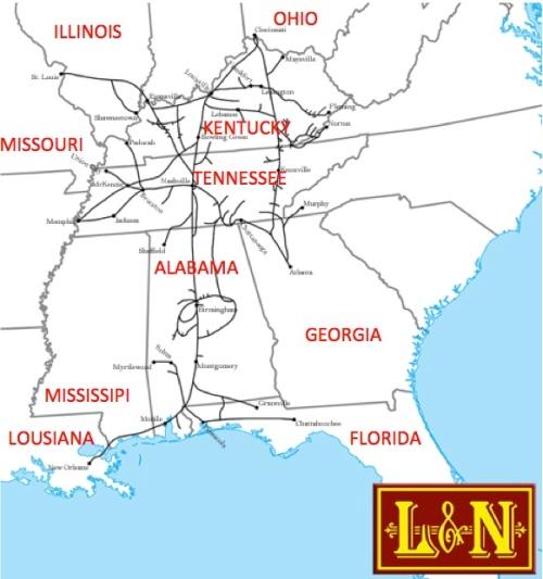 Rete di L&N - mappa elaborata sulla base di una di Americanrails.com