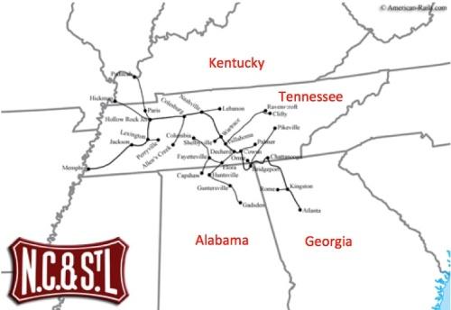 Rete della NC&StL - mappa elaborata sulla base di una di Americanrails.com