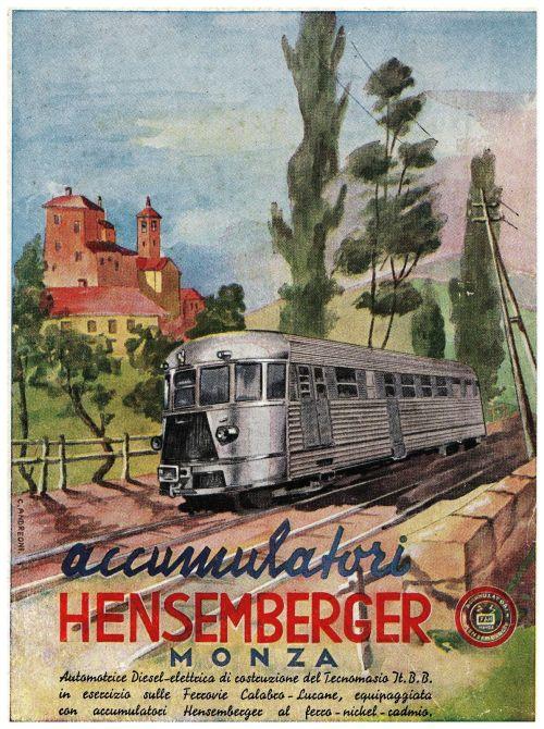 Manifesto pubblicitario degli Accumulatori Heisemberger - Opera di C. ANDREONI;