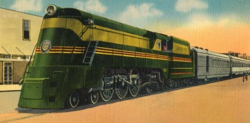 Il disegno della Class P carenata mostra la livrea. Dopo la motrice si vede una carrozza P&B (posta e bagagli) Pullman Osgood-Bradley . Dal photostream di TPavluvcik su Flickr,
