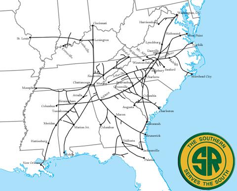 Rete della Southern Railways - da http://www.american-rails.com