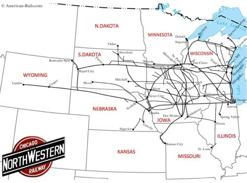 Rete della C&NW - mappa elaborata sulla base di una di Americanrails.com