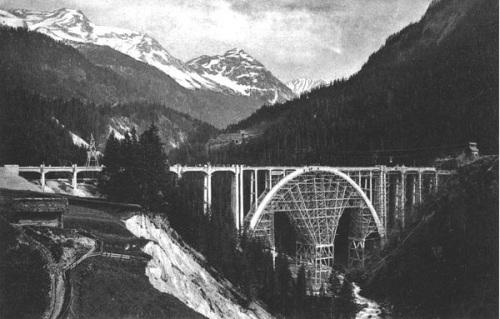 Fasi finali della costruzione del Langwies  - da Hermann Schürch für Ed. Züblin & Cie.Zürich