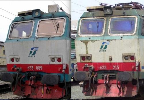 089, a sinistra, da una foto di Bellafronte e 215 a destra da una foto di Andrea Iula, entrambe tratte da trenomania