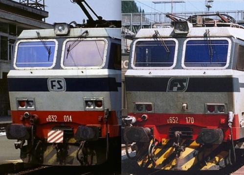Confronto tra le E.632 (a sinistra) e la E.652 (a destra)